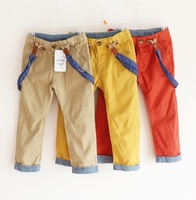 cp1 new 2014 brand 2-8 age kids overalls for boys pants orange red / yellow / khaki child overall 5pcs/ lot free shipping