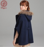 Hot 2013 Winter New Korean Clothes Ladies Loose Overcoat Women Wool Blends Coat Female Thickening Outerwear Red navy blue camel