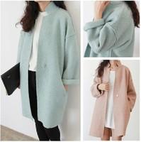 Women autumn winter  brief loose unique all-match long woolen outerwear wool blends elegant cocoon coat oversize coat