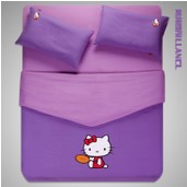 Solid color hello kitty queen size bedding kids purple comforter set bed linen set bed cover