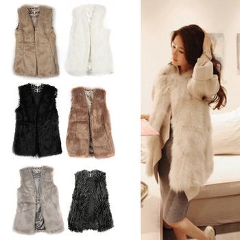 Шик леди искусственного меха жилет зима теплая пальто и пиджаки длинные волосы жилет топы прямая поставка HQ0002