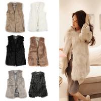 Chic Lady Faux Fur Vest Winter Warm Coat Outwear Long Hair Jacket Waistcoat Tops Drop shipping HQ0002