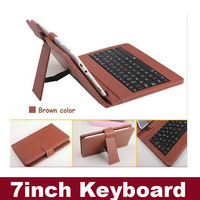 "Portable 7"" USB Keyboard Leather Case With  Stylus Pen For 7 inch Tablet PC Black Brown Blue Pink Red White Multicolor"