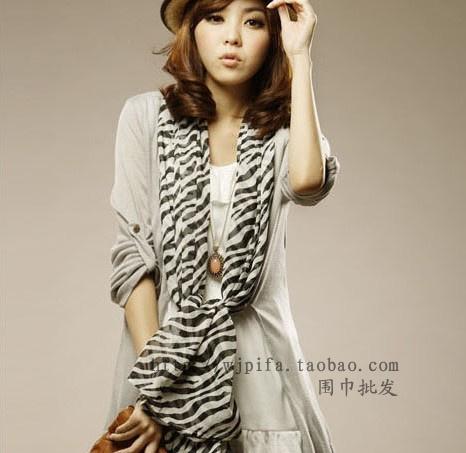 Fashion Star models Women's Fashion Soft Shawl Stole Silk Chiffon Scarf ladies georgette sunscreen Zebra scarve wrap(China (Mainland))