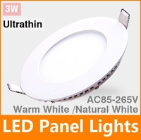 Ultra thin 3W  LED Panel Light Round SMD2835 LED Ceiling Wall Light Lamp Recessed Down light Pure White led bulb Free Shipping