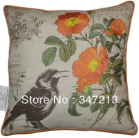 Embroidered print pillow cover bird floral cushion cover 18""