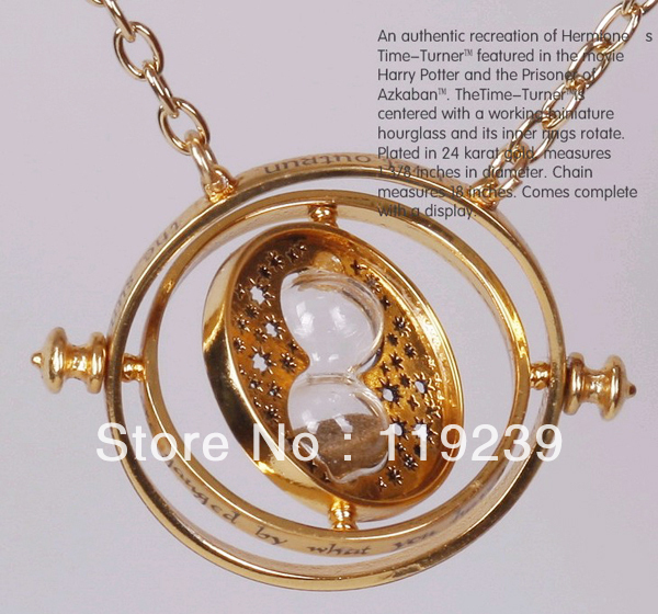 KN143 Harry Potter Time Turner Hourglass Necklace New Fashion 2013 Punk Hermione Granger Rotating Spins Gold Lover's Jewelry(China (Mainland))