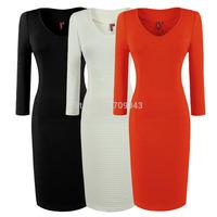 2014 black office dress  Fashion Vintage Women Streak Line Business work Concise warm winter dress Stretch bodycon Pencil Dress