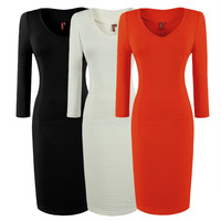 New  Fashion Women V-Neck Streak Line Business Concise Slim Fit Stretch bodycon Pencil Dress