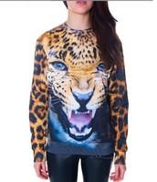 2014 Winter Women 3D Printing Animal Hoodies Harajuku Tiger Leopard Sweatshirts Brand Women Outwear Coat Moleton Feminino