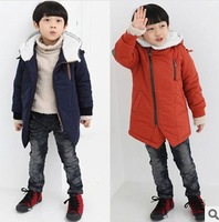 Fall winter children's clothing and girls cotton long sleeve plus cotton long-sleeved jacket zipper coat Parkas free shipping