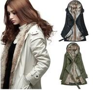 Winter wadded jacket outerwear 2013 thickening overcoat women's berber fleece medium-long wool liner parkas
