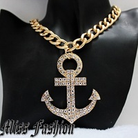New In Hotselling Hip Hop Fashion Gold Chunky Chain Rhinestone Anchor Charm Necklace
