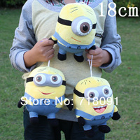 Dropshipping,3D Despicable ME Movie,Soft Stuffed Toy Minion Doll,Jorge,Stewart,Dave,7inch,17cm,3pc/lot