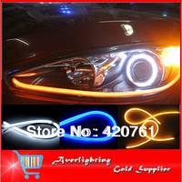 Dual Color Amber/White 600mm Universal Headlight Strip for Fog Light Turn Light LED Flexible DRL/Daytime Running Light