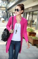 2013 New Arrival   Long Sleeve Women Knitted Sweather , Tops,Cotton cardigans,Long sweather No botton free shipping