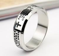 316L Stainless Steel Prayer  Rings Wholesale Titanium Steel  Bible  Rings  jz013