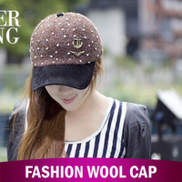 2013 new! Fashion knitted baseball caps, Women hat, Casual women cap,Free shipping!