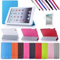 Tri-Fold Slim Smart Magnetic Flip Cover Case Sleep Wake w/ Stand Cover For Apple iPad Mini + Screen Film + Stylus 50pcs/Lot
