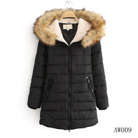 FREE SHIPPING BRAND 2014 winter extra thick large fur collar down coat women's medium-long down & parka jacket outerwear