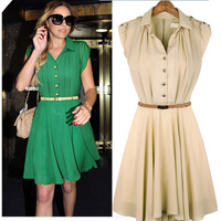 New 2013 Summer Fashion Work Women Dresses Vestidos Button High Waist Knee Butterfly Ruffled Short Sleeve Pleate Chiffon A0119