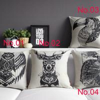 NEW Animal pillow Linen cotton pillow cover cushion cvoer home decoration home sofa cushions car office nap cushion 45cm*45cm