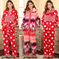 Free Shipping Long Sleeve Thick Cotton Pijamas Winter Sleepwear Warm Pajamas Women Bathrobe Pyjama Set Home Clothing A0298