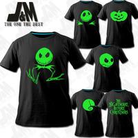 The Nightmare Before Christmas Jack Skellington Big Head T-shirt pumpkin ghost Halloween moon luminous family shirts s- XXXL