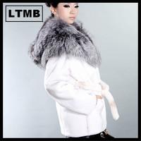 LTMB417  Fashion style women's rex rabbit fur coat with silver fox fur hood white fur winter  full sleeve