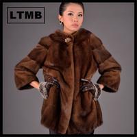 LTMB  Best quanlity women's mink fur coat three quarter sleeve fashion fur coat  for femal