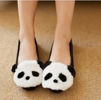 2013 winter latest cute little panda/rabbit flats shoes for women warm fur shoes
