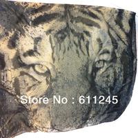 Min order is usd15.0(mix order) Free shipping Fashion New Tiger Head Animal Print  Ladies Long Viole Shawl/Scarf