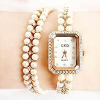 Luxury Double String of pearls set auger female bracelet Women Dress Watch GEDI brand fashion watches!