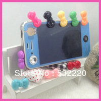 Freeing shipping new arrival Candy-colored bow dust plug for Iphone 10 color can be choices