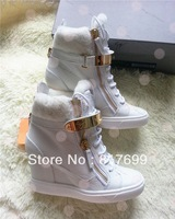 Free shipping 2013 winter warming new arrive white color wedge high top increased lace up zipper sneakers for women