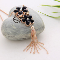 South Korean  rose gold long  pendant  necklace  high-grade fashion clovers sweater chain