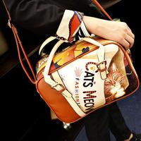 2014 new arrival cartoon bags cat printed fashion women's lady's handbag shoulder bag old school style