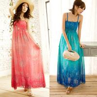 Women Chiffon Long Maxi Dress Bohemia Floral Print Spaghetti Strap Summer Beach Freeshipping Dropshipping