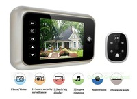 "Free Shipping!!Sliver 3.5"" Monitor Door Doorbell Pee'phole Viewer Camera Photo Video DVR 120 degrees"