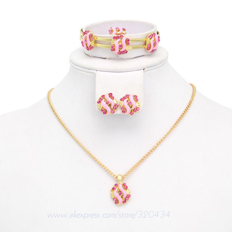 Vendita calda rosa/blu strass gioielli bambini set, bella placcato in oro gioielli bambini set a724 per la spedizione gratuita