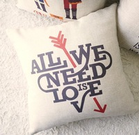 """Free shipping invisible zipper linen English letter """"all we need is love"""" printing cushion cover/pillow case 45*45cm"""