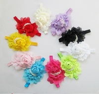 New Baby Rose Flowers Headbands,Chiffon Flower Headwear Baby Headbands Bow Hair decoration Hairband,Children's Hair Accessories