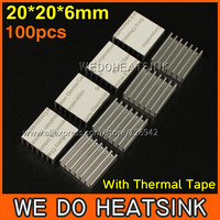 Free Shipping 100Pcs/Lot 20*20*6 mm Aluminum IC LED Cooling Cooler Heatsink Heatsinks With Thermal Conductivity Adhesive Tape