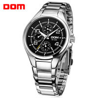 New 2014 men fashion trend Dom Mechanical waterproof calendar luminous 6 needles sports casual male quartz steel watch