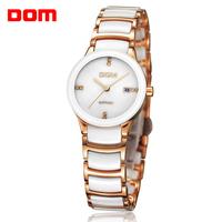 ladies watch women wristwatches  Dom      rose gold ceramic dive quartz   casual     dress watches relogio feminino reloj mujer