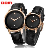 male women dress watches Dom fashion rhinestone leather strap watches brand luxury watches men quartz relogio couple watch