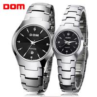 fashion Dom men full tungsten steel watch relogio masculino women dress watches mens and ladies couple watch quartz watches