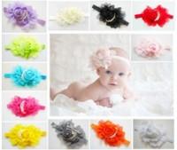 22Color Baby Girl Chiffon Ruffles Rose Flower Headbands+Hair Ribbon Bowknot Headdress+Baby Hair Headbands Girls Hair Accessories