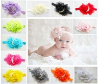 22Color Baby Girl Chiffon Ruffles Rose Flower Headbands+Hair Ribbon Bowknot Headdress+Baby Hair Headbands Girls Hair Accessories