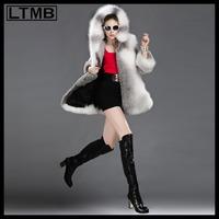LTMB Women mink fur coat turn down collar three quarter sleeve fox fur back and hood edge new fashion winter outerwear 2014